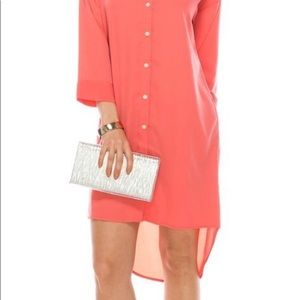 Coral Hi Low shirt dress